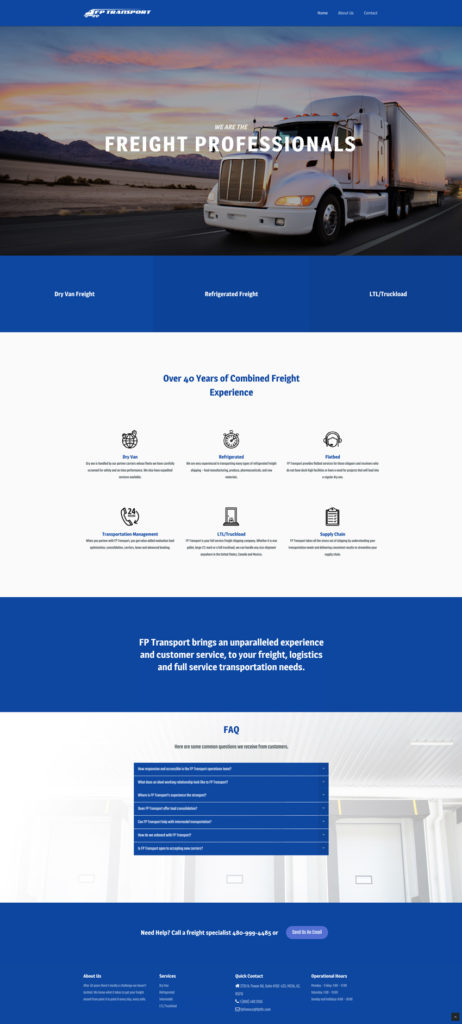 Freight logistics website design branding